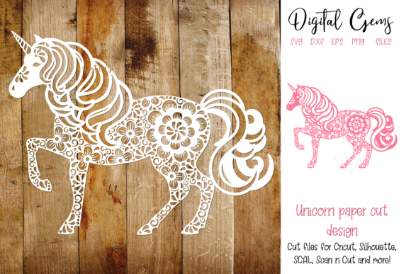 Unicorn Papercut Design Graphic Crafts By Digital Gems