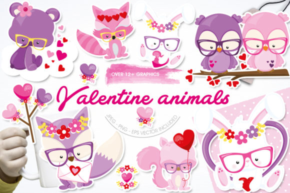 Print on Demand: Valentine Animals Graphic Illustrations By Prettygrafik