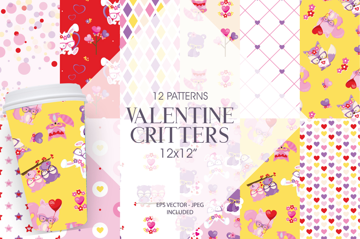 Download Free Valentine Critters Digital Paper Graphic By Prettygrafik for Cricut Explore, Silhouette and other cutting machines.