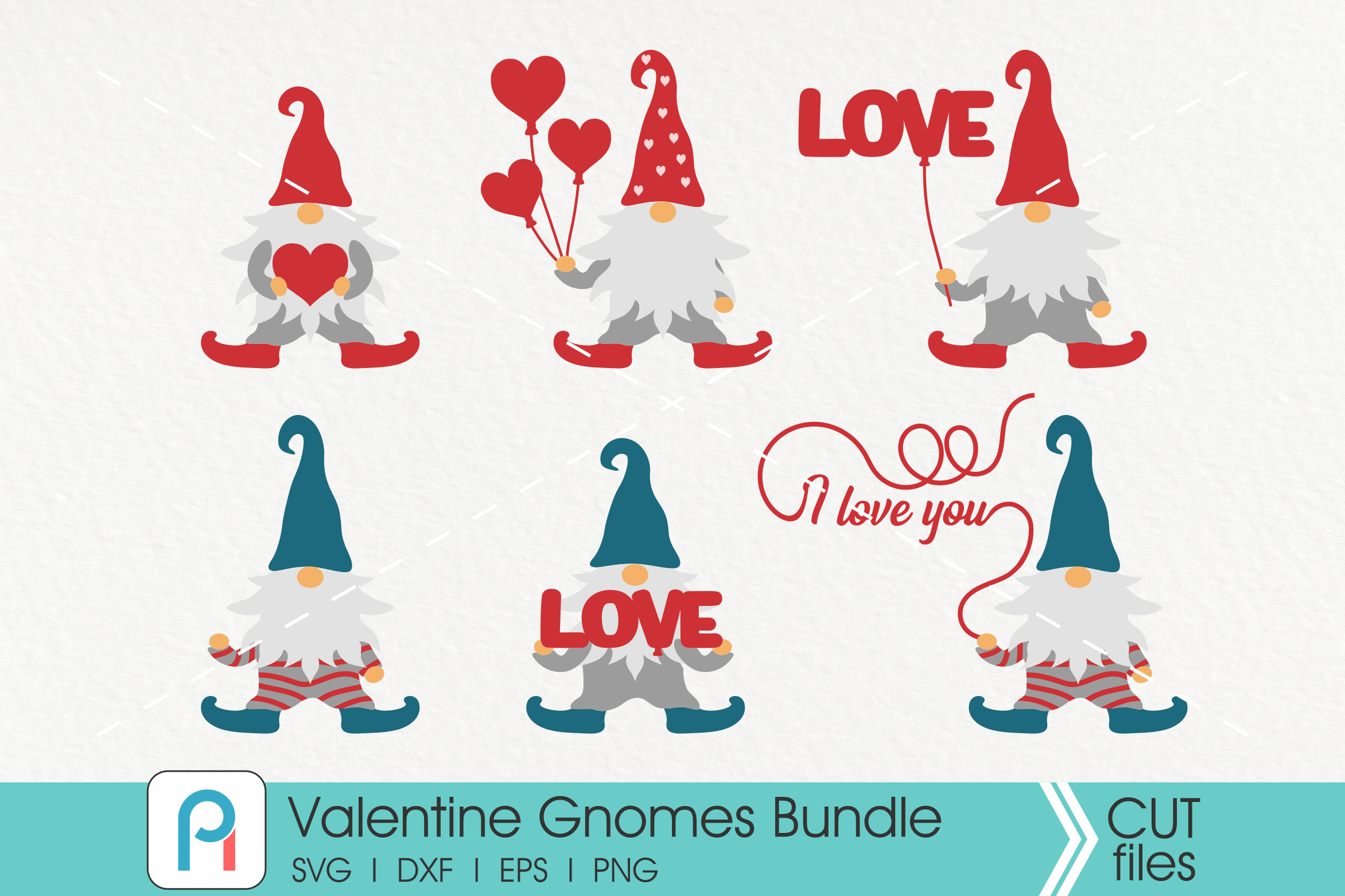 Download Free Valentine Gnomes Bundle Graphic By Pinoyartkreatib Creative Fabrica for Cricut Explore, Silhouette and other cutting machines.