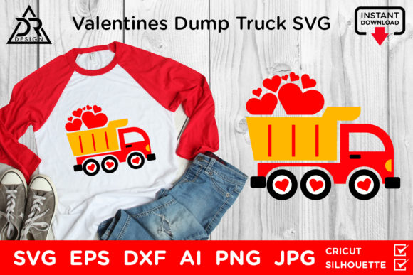 Download Free Valentines Day Dump Truck Svg Graphic By Davidrockdesign for Cricut Explore, Silhouette and other cutting machines.