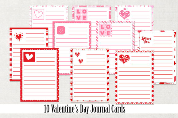 Print on Demand: Valentine's Day Journal Cards Graphic Crafts By Becky's Creations