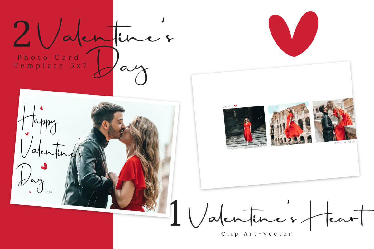 Valentine S Day Photo Card Template Graphic By 3motional
