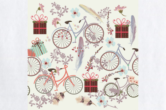 Vector Pattern with Cartoon Bicycles Graphic Patterns By fleurartmariia