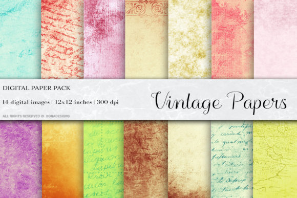Vintage Paper Textures Graphic Textures By BonaDesigns