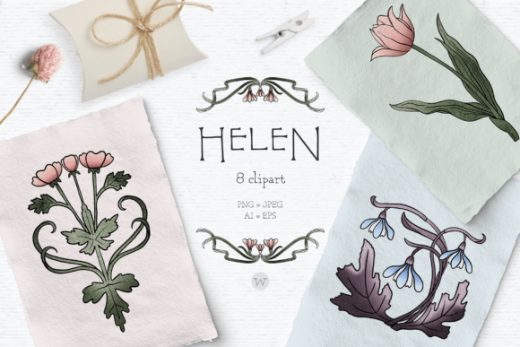 Print on Demand: Vintage Floral Clipart Graphic Illustrations By Wallifyer
