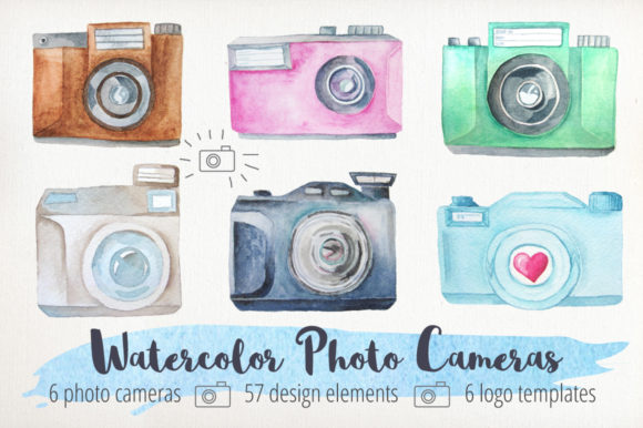 Watercolor Cameras Clip Art Graphic Illustrations By Larysa Zabrotskaya - Image 1