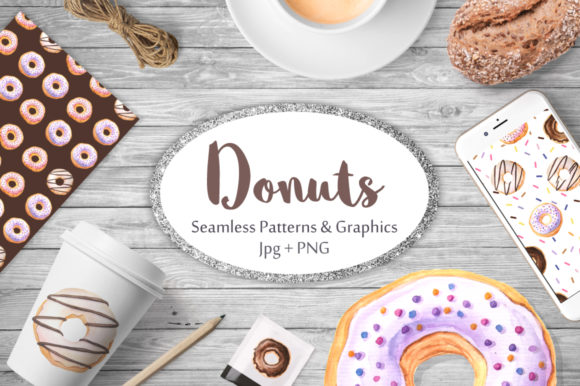 Watercolor Donuts Patterns & Graphics Graphic Patterns By Larysa Zabrotskaya