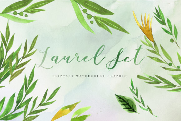 Watercolor Laurel Set Illustration Graphic Crafts By TMint