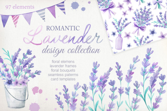 Watercolor Lavender Design Pack Graphic Illustrations By Larysa Zabrotskaya