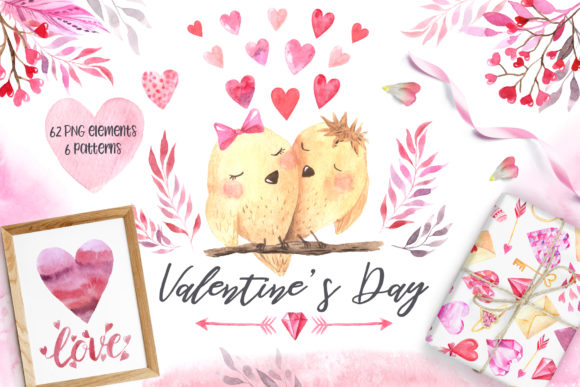 Aquarell-Valentinstag-Set Vol.2 Grafik Illustrationen von Larysa Zabrotskaya