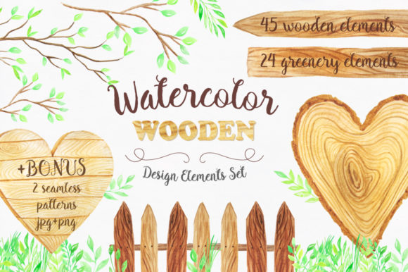 Watercolor Wooden Design Set Graphic Illustrations By Larysa Zabrotskaya