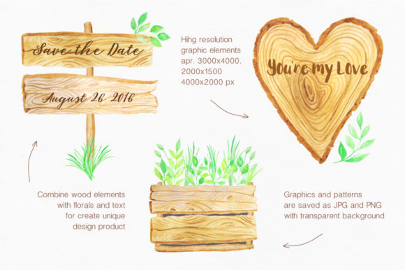Watercolor Wooden Design Set Graphic Illustrations By Larysa Zabrotskaya - Image 4