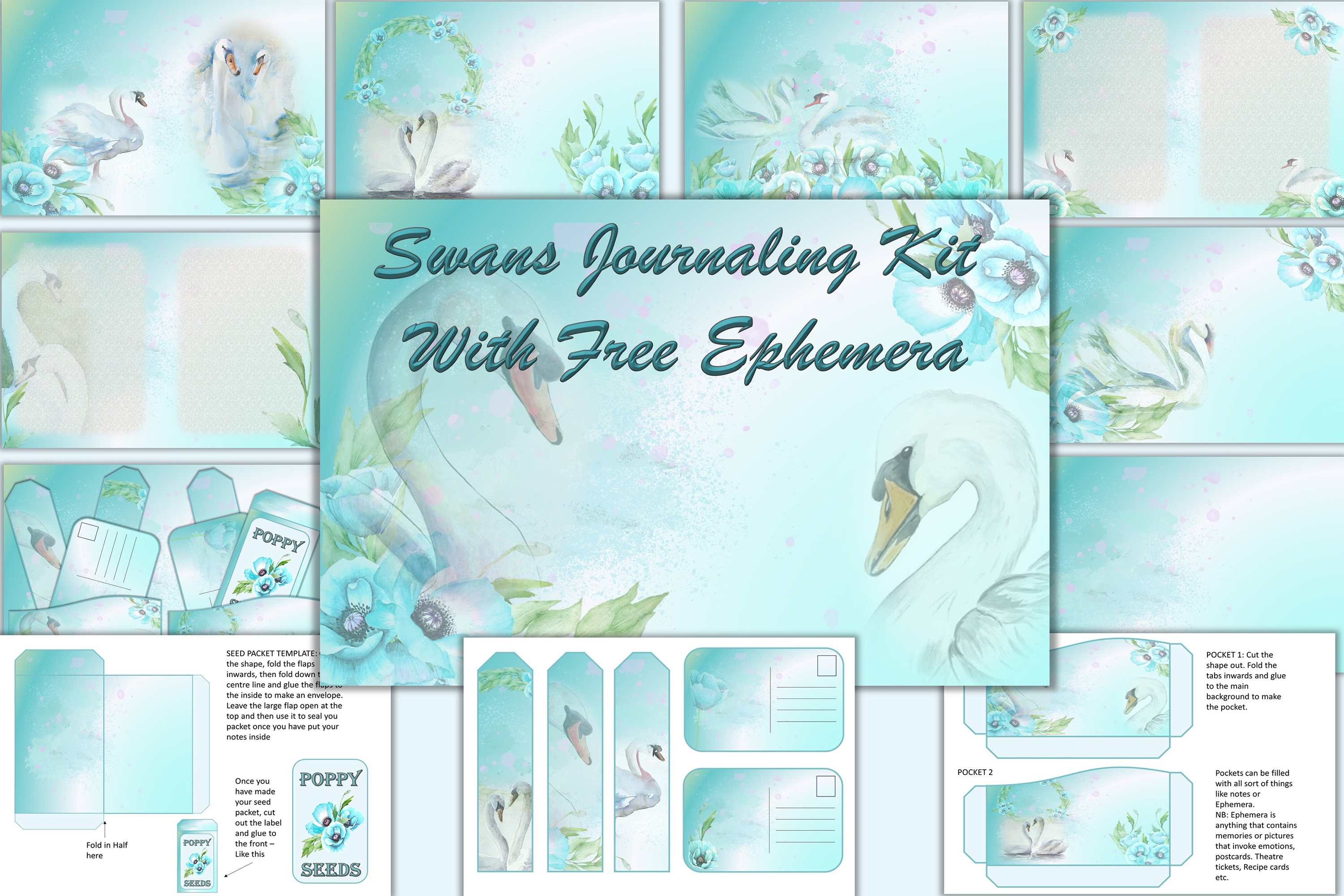 Download Free Watercolour Swans Background Kit Graphic By Digitalcraftsco for Cricut Explore, Silhouette and other cutting machines.