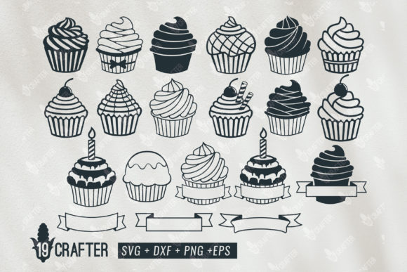 Download Free Cupcake Birthday Name Banner Bundle Graphic By Great19 for Cricut Explore, Silhouette and other cutting machines.