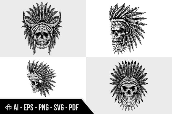 Print on Demand: Skull Indian Collection Illustration Graphic Illustrations By Andypp
