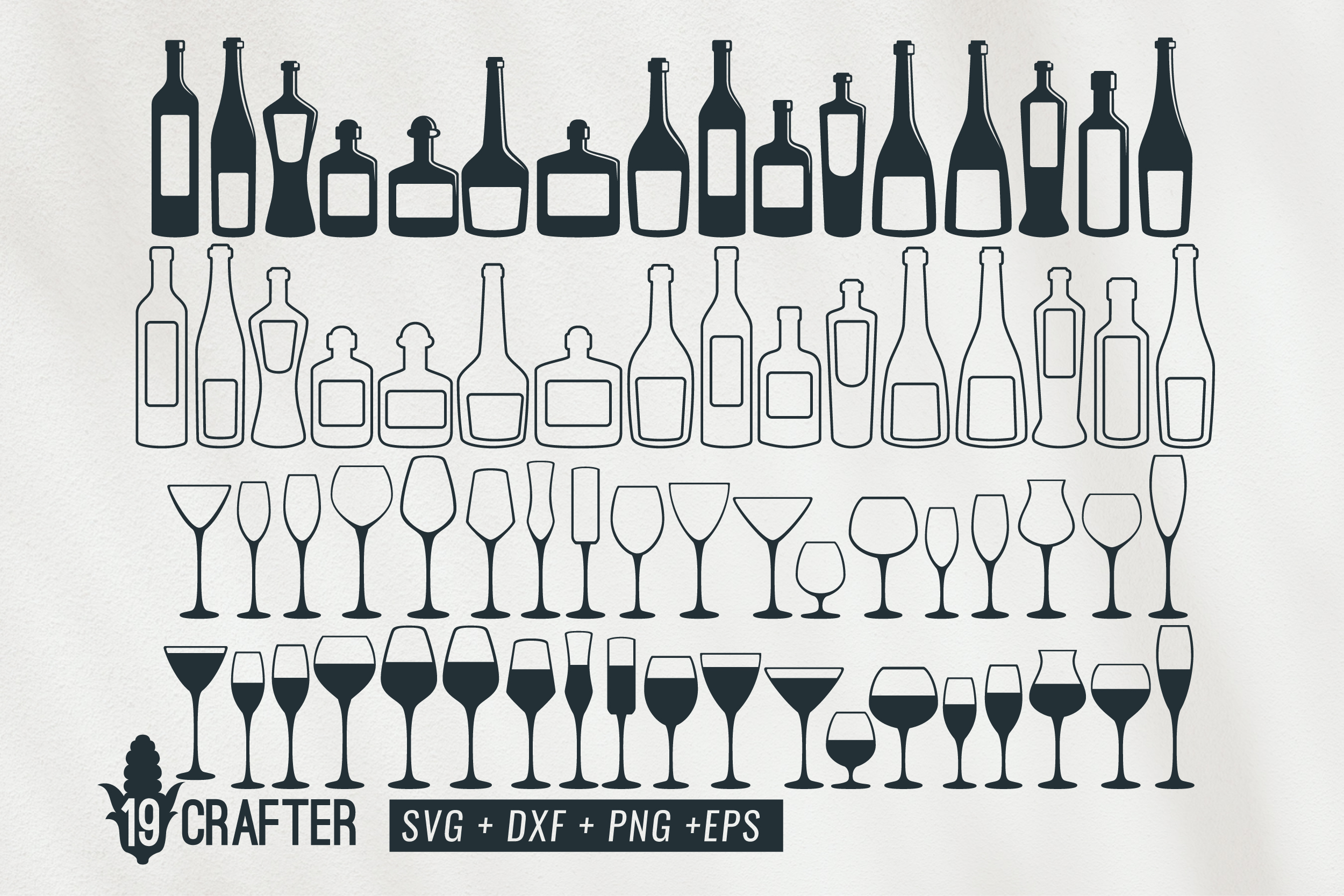 Download Free Wine Glass And Bottle Wine Svg Bundle Graphic By Great19 for Cricut Explore, Silhouette and other cutting machines.