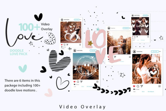 Print on Demand: 108 Animated Doodle Love Video Overlays Graphic Backgrounds By 3Motional - Image 1