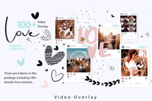Print on Demand: 108 Animated Doodle Love Video Overlays Graphic Backgrounds By 3Motional