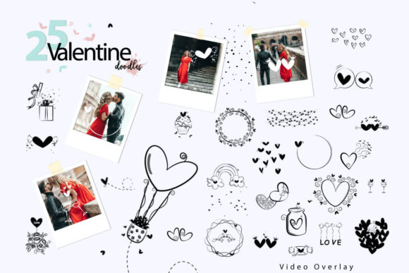 Print on Demand: 108 Animated Doodle Love Video Overlays Graphic Backgrounds By 3Motional - Image 4