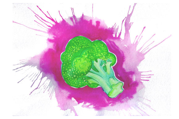 Download Free Broccoli In Watercolor Paint Splatter Style Svg Cut File By for Cricut Explore, Silhouette and other cutting machines.