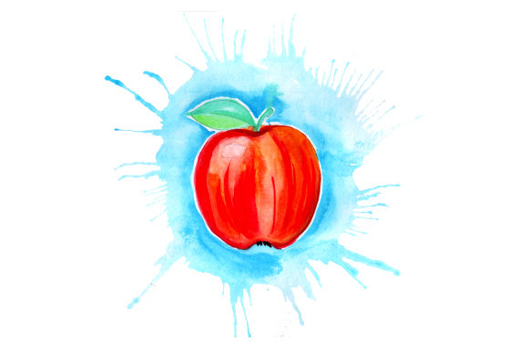 Download Free Apple In Watercolor Paint Splatter Style Svg Cut File By for Cricut Explore, Silhouette and other cutting machines.
