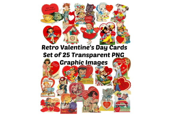 Print on Demand: 25 Vintage Retro Valentine's Day Cards Graphic Illustrations By Scrapbook Attic Studio