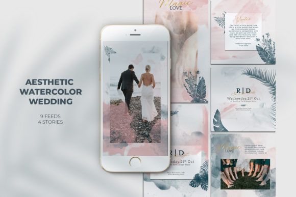 Aesthetic Watercolor Wedding Instagram Graphic Web Elements By qohhaarqhaz