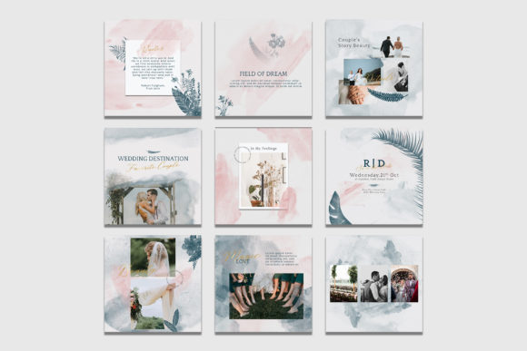 Download Free Aesthetic Watercolor Wedding Instagram Graphic By Qohhaarqhaz for Cricut Explore, Silhouette and other cutting machines.