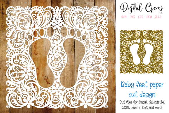 Baby Feet Paper Cut Design Graphic By Digital Gems Creative
