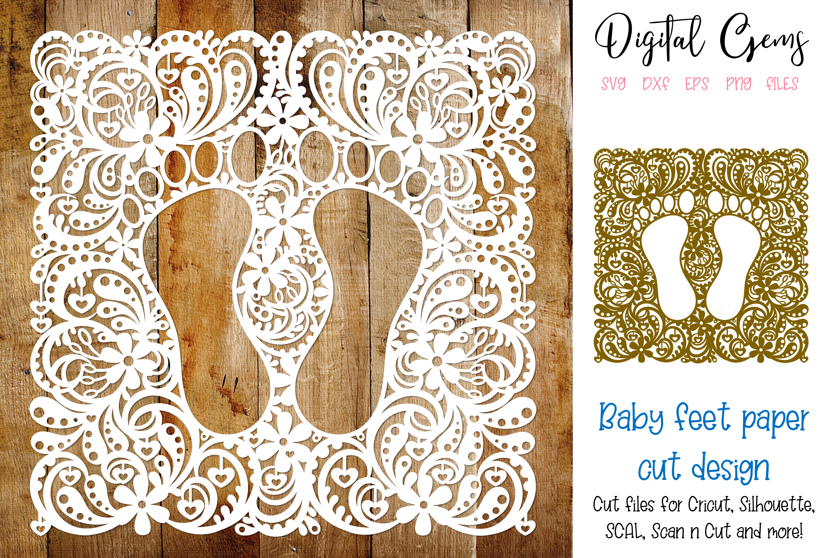 Download Free Baby Feet Paper Cut Design Graphic By Digital Gems Creative Fabrica for Cricut Explore, Silhouette and other cutting machines.
