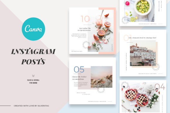 Print on Demand: Canva Food & Travel Instagram Posts Graphic Websites By SilverStag