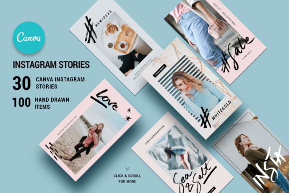 Print on Demand: Canva Instagram Hand-Drawn Stories Graphic Web Elements By SilverStag