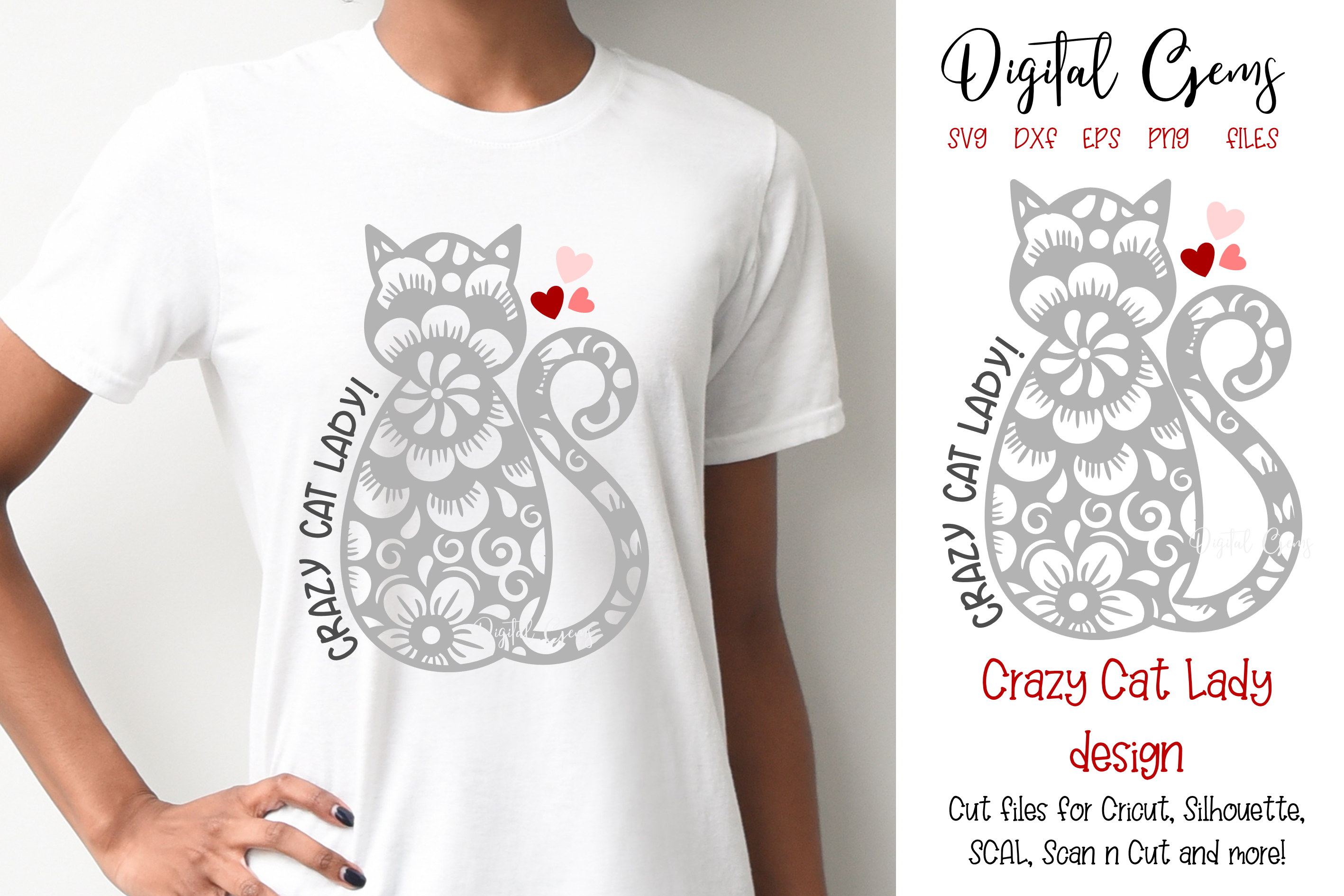 Download Free Crazy Cat Lady Design Graphic By Digital Gems Creative Fabrica for Cricut Explore, Silhouette and other cutting machines.