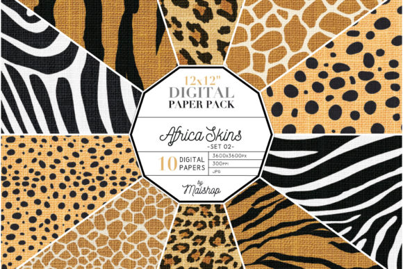 Print on Demand: Digital Paper Linen Africa Skins Set 02 Graphic Patterns By Maishop