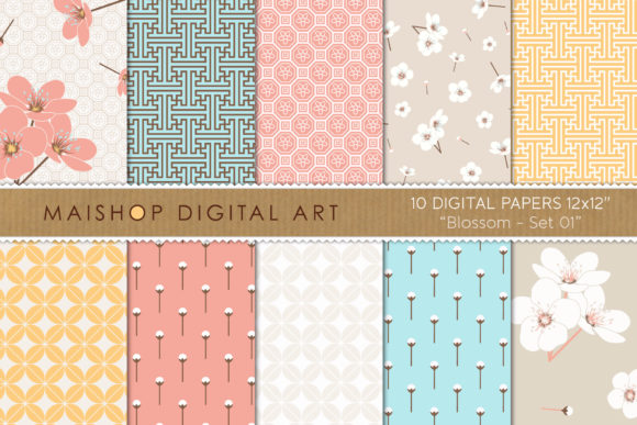 Print on Demand: Digital Paper Pack Blossom Set 01 Graphic Patterns By Maishop - Image 1