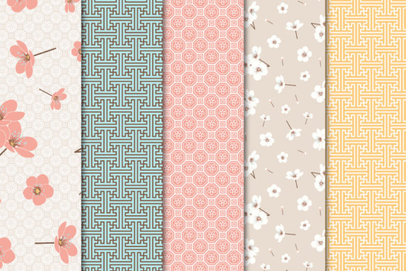 Print on Demand: Digital Paper Pack Blossom Set 01 Graphic Patterns By Maishop - Image 2