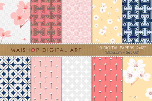 Download Free Digital Paper Pack Graphic By Maishop Creative Fabrica for Cricut Explore, Silhouette and other cutting machines.