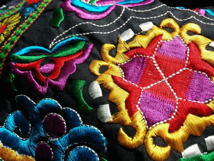 Oriental style colorful machine embroidery