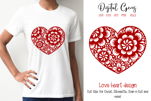 Download Free Heart Design Graphic By Digital Gems Creative Fabrica for Cricut Explore, Silhouette and other cutting machines.
