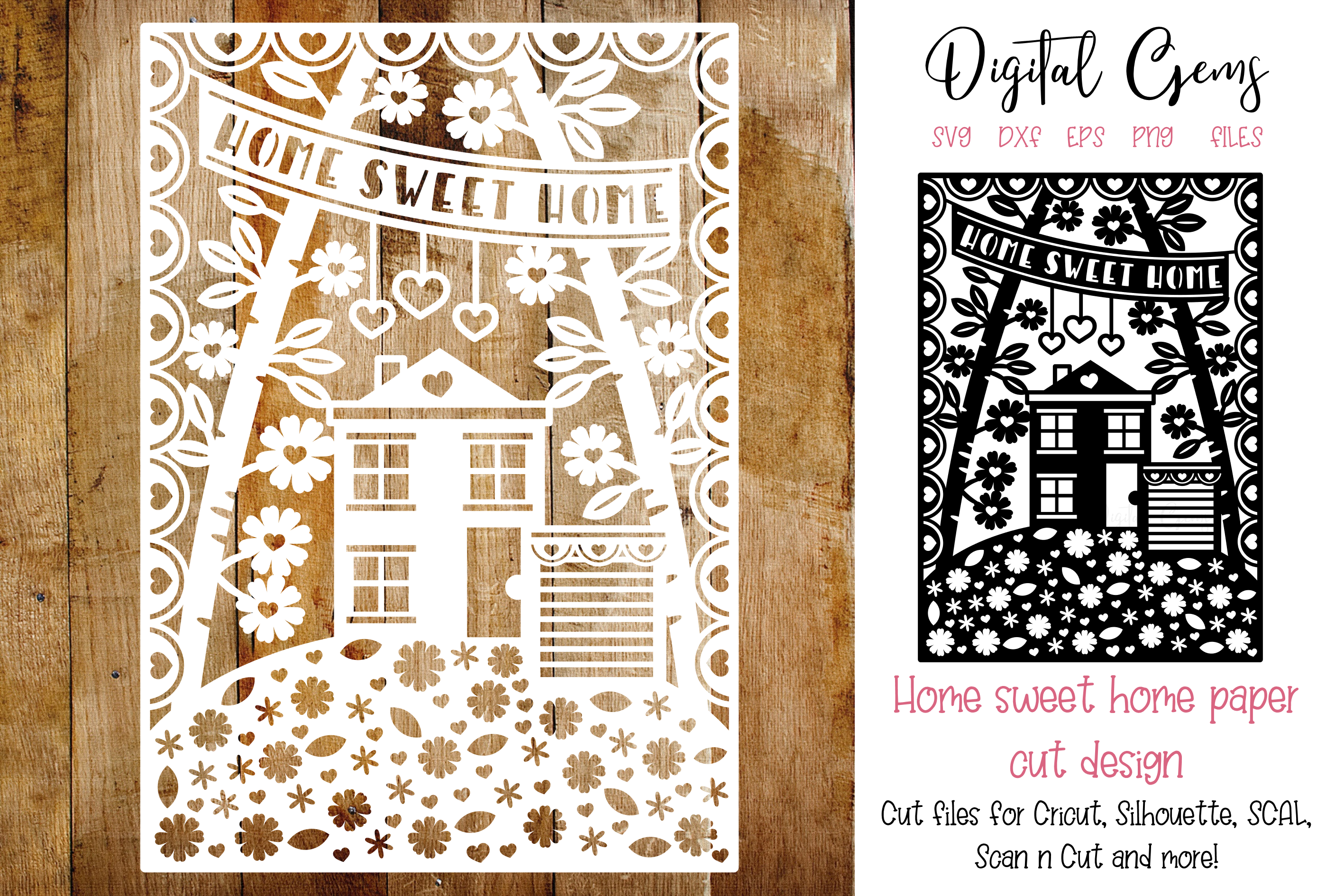 Download Free Home Sweet Home Paper Cut Design Graphic By Digital Gems for Cricut Explore, Silhouette and other cutting machines.