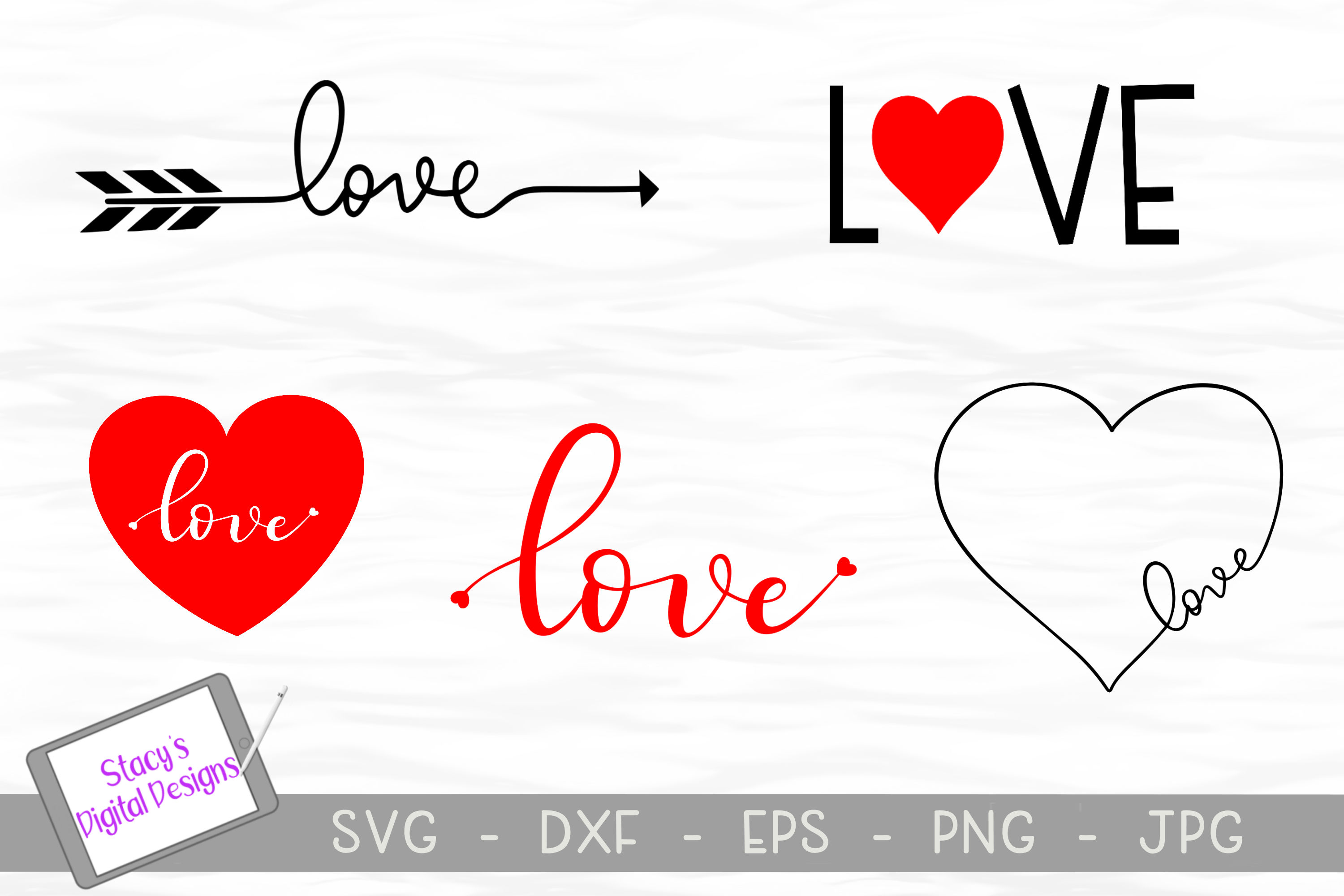 Download Free Love Bundle 5 Valentine Graphic By Stacysdigitaldesigns for Cricut Explore, Silhouette and other cutting machines.