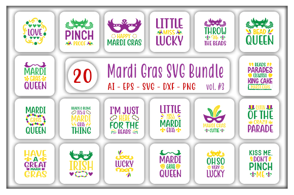 Download Free Mardi Gras Designs Bundle Graphic By Creativeart Creative Fabrica for Cricut Explore, Silhouette and other cutting machines.