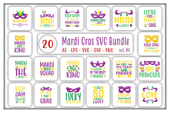 Print on Demand: Mardi Gras Designs Bundle Graphic Print Templates By CreativeArt