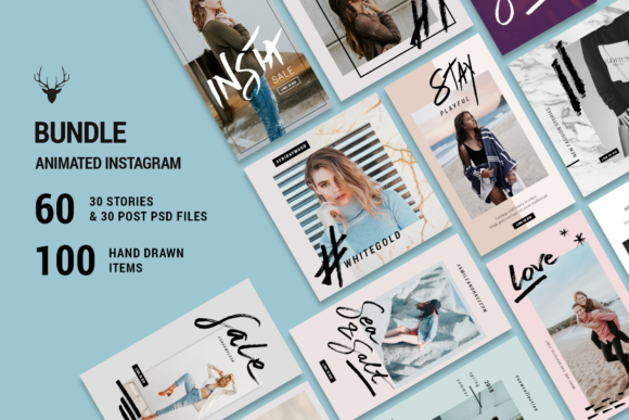 Print on Demand: Mini Bundle Animated Instagram Pack Graphic Web Elements By SilverStag