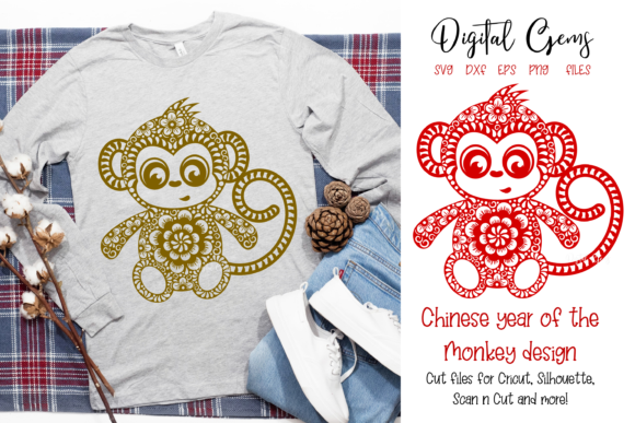 Monkey Chinese New Year Graphic Crafts By Digital Gems