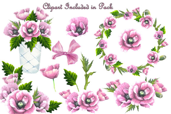 Download Free Pink Poppy Clipart And Backgrounds Graphic By Digitalcraftsco for Cricut Explore, Silhouette and other cutting machines.