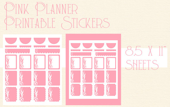 Print on Demand: Pink Roses Printable Planner Stickers Graphic Arts & Entertainment By Kathryn Maloney