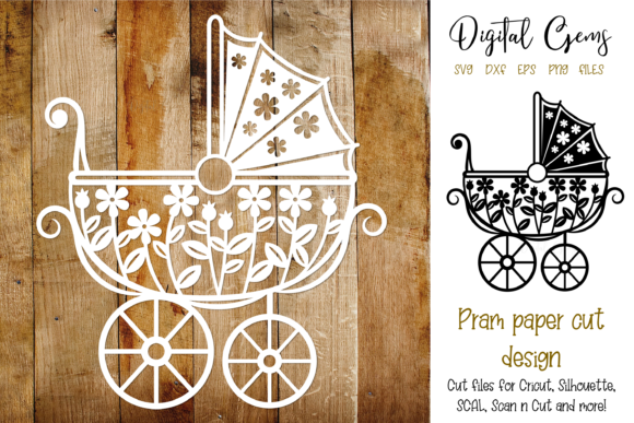 Download Free Pram Paper Cut Design Graphic By Digital Gems Creative Fabrica for Cricut Explore, Silhouette and other cutting machines.