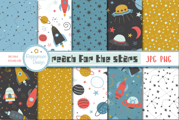 Print on Demand: Reach for the Stars Paper Grafik Muster von poppymoondesign
